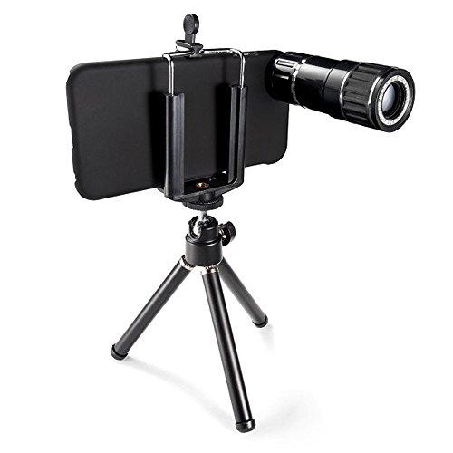 サンワダイレクト iPhone 6s/6 対応 望遠レンズキット 光学12倍 ミニ三脚&専用ケース付 400-CAM046