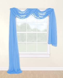 light blue elegance window sheer voile scarf. Black Bedroom Furniture Sets. Home Design Ideas