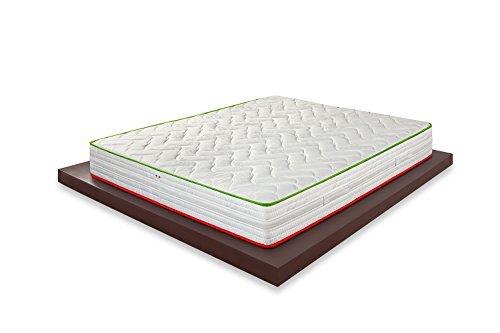 Materassimemory.eu Materasso matrimoniale, molle insacchettate e memory, modello Italo, 160 x 190 x 26 cm, rivestimento 3D Air, fascia perimetrale