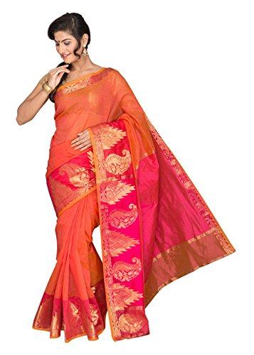 Pavecha's Women's Cotton Silk Saree (MK1530 _Orange)