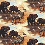 Fat Quarter Plains of Africa Zebras Elephants Cotton Quilting Fabric - SPX Fabrics