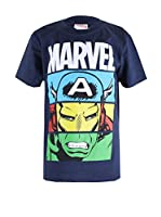 ZZ-Marvel Camiseta Manga Corta Heroes Unite (Azul Marino)