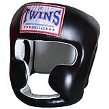 Head Guard Headgear Twins Special Muay Thai Boxing leather Black HGL-3 Size M