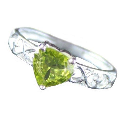 .925 Sterling Silver Peridot Heart Ring (7)