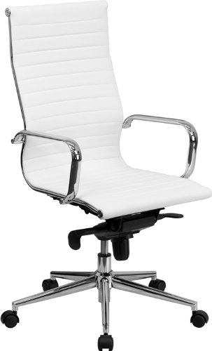 Flash Furniture High Back White Ribbed Upholstered Leather Executive Office Chair