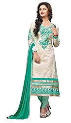 Blissta White cotton embroidered party wear dress material