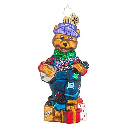 RADKO Bearly Pickin and Grinnin Teddy Bear Country Banjo Christmas Glass Ornament