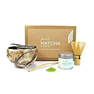 Matcha Tea Gift Set with Strainer, Bowl to Make Japanese Green Tea - 1 Kit