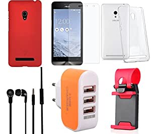 NIROSHA Tempered Glass Screen Guard Cover Case Headphone Mobile Holder Charger for ASUS Zenfone 6 - Combo