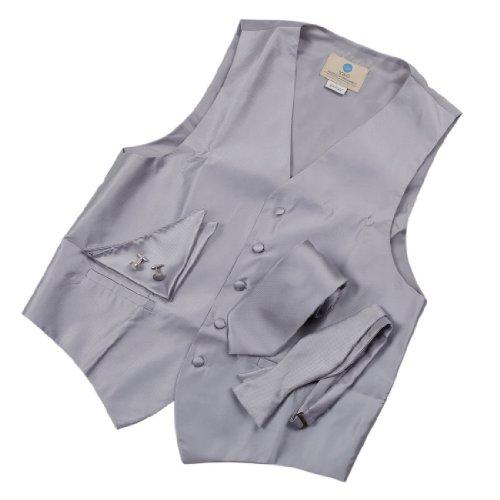 Mens Dress Vest Solid Silver Formal Vest For Wedding Gift Set Match Necktie For Men, Cufflinks, Handkerchief, Solid Bow Tie For Tuxedo Vs1002-L Large Silver