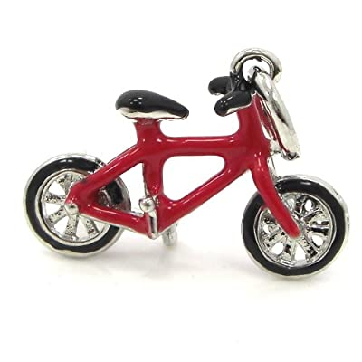 """Jewelry Monster Dangling """"Red Bicycle"""" Charm Bead for Snake Chain Charm Bracelet"""