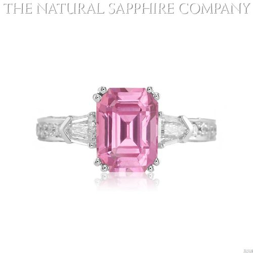 3.32ct. Natural Untreated Pink Sapphire Ring with 2 Bullet Diamond