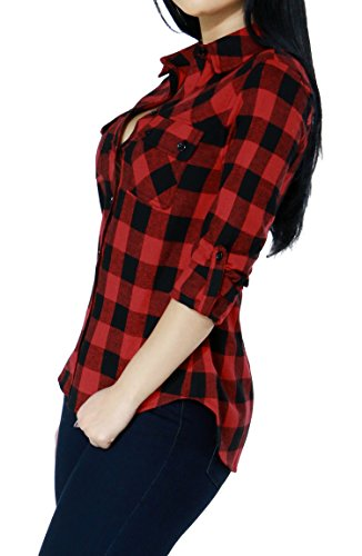 Womens Casual Plaid Checkered Collared Pull Over Button Down Shirts Top (Medium, Red-L21983T)