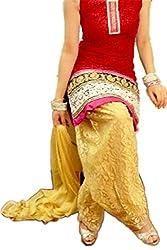 Khazanakart women's exclusive designer Red Brasso net party wear dress materials