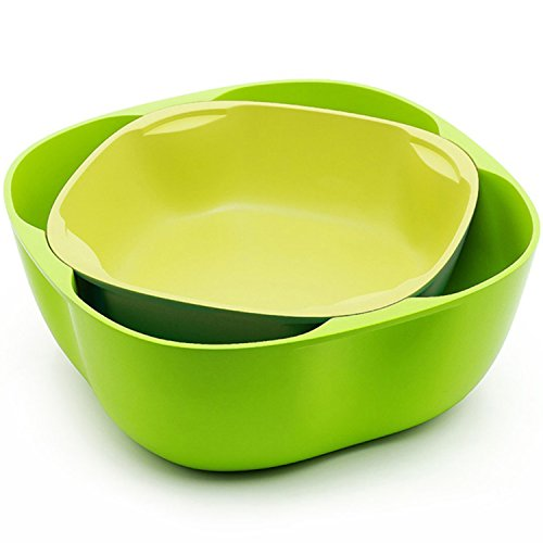 Salad Bowl Set to Hold Fruits, Salads and More. Two-Piece Salad Bowl/Fruit Bowl/Serving Bowl Set. Small and Large Bowl Included. Colors Green + Yellow (Pedestal Bowl Glass Sink compare prices)