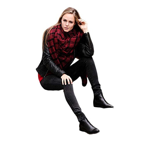 Voberry®Fashion Style Women Lady'S Infinity Blanket Oversized Tartan Scarf Wrap Shawl Plaid Checked Pashmina (Red)