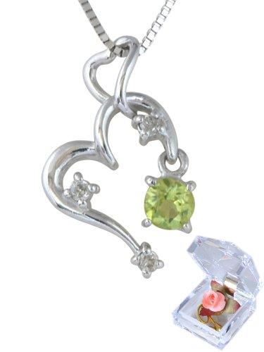 [Jericotobki] Rock jewelry Kotobuki August birthstone Peridot heart pendant diamond necklace (gift set with flowers case) birthday present K18WG k60212 [already wrapping]