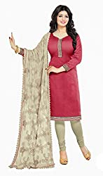Women Icon Presents Chanderi Dress Material(Pink,Beige)