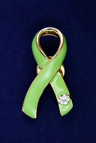 Lime Green Ribbon Pin with Austrian Crystal (36 Pins)