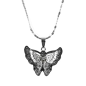 Amazon.com: Unique Women's Butterfly Pendant Cubic Zirconia Stone Stainless Steel Chain Necklace 20