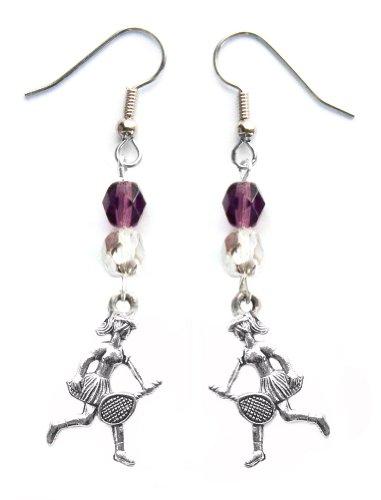 """""""Tennis Girl"""" Tennis Earrings (Team Colors Purple & Silver)"""