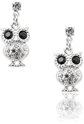 Silver Plated Black Eyed Owl Earring