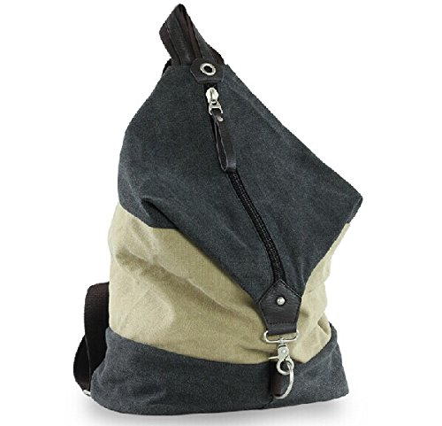 Mens Fshion Leather And Canvas Leisure Delicate Zipper Outdoor Sports Barrel Backpack Rucksack Vintage Bag - Work Travel Camping Sports School Fishing