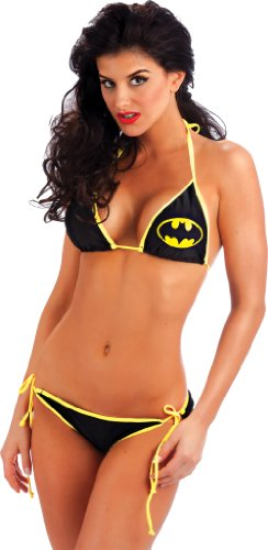 Batman Logo Triangle Set Black String Bikini