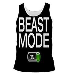 Snoogg Beast Mode - On Mens Casual Beach Fitness Vests Tank Tops Sleeveless T shirts