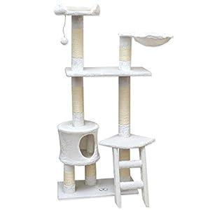 arbre chat en peluche sisal blanc 140 cm animalerie. Black Bedroom Furniture Sets. Home Design Ideas