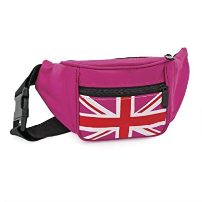 Bum Bag Fanny Pack Faux Leather Festival Canvas Bumbag Fuchsia Pink Union Jack Canvas