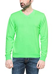 Zovi Cotton Neon Green Solid Pullover With V-neck (10407993801_S)