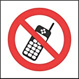 Prohibition Sign - No Mobile Phones (Self Adhesive Vinyl / 100x100mm)