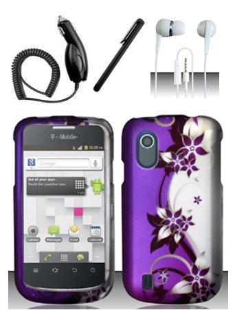 4 Items Combo For Zte Concord V768 (T-Mobile) Purple Silver Vines Design Hard Case Snap On Protector Cover + Car Charger + Free Stylus Pen + Free 3.5Mm Stereo Earphone Headsets