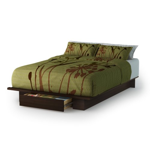 Big Save! South Shore Trinity Collection Platform Bed with Drawer, Mocha