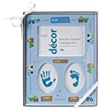Baby's First Photo Frame with Handprint and Footprint (Blue)