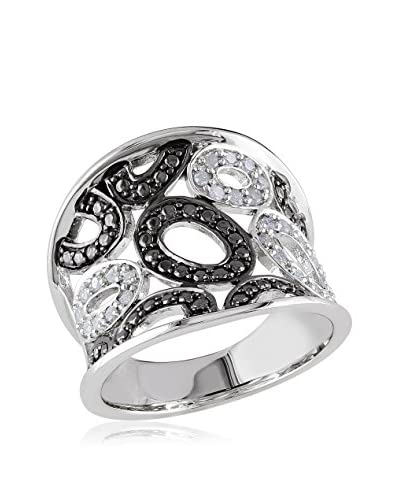 Rina Limor Silver with Black Rhodiumgeometric Ring with 1/5 Cttw Accent Diamonds