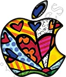 Yellow Pink Blue Teal Hearts - Custom Apple Art - MacBook Decal glowing logo for mac book pro air 11