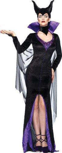 Leg Avenue Disney 3Pc.Maleficent Dress Stay Up Collar and Head Piece, Black, Small