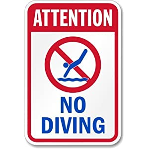 Smartsign Aluminum Sign Legend Attention No Diving With Graphic 18 High X 12 Wide Blue
