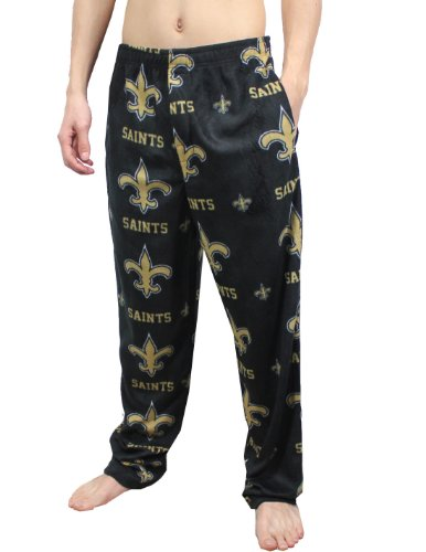 NFL New Orleans Saints Mens Polar Fleece Sleepwear / Pajama Pants Small Black at Amazon.com