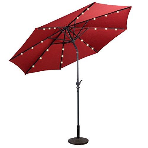 IHP 10FT Patio Solar Umbrella LED Patio Market Steel Tilt W/ Crank Outdoor New - Burgundy