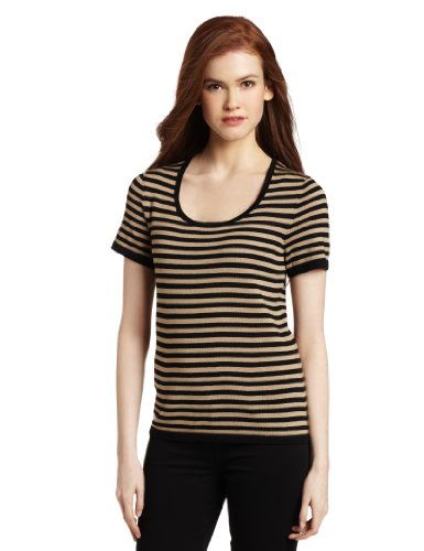 Jones New York Women's Short Sleeve Scoop Neck Pullover Sweater, Black/Toast, Small
