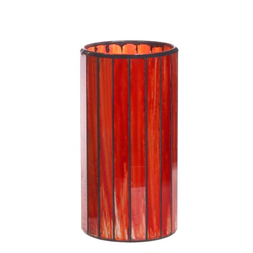Dfl 3*6 Inch Red Vertical Stripes Mosaic Glass With Flameless Led Candle With Timer,Work With 2 C Battery