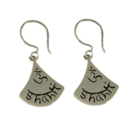 Sterling Silver OM Shanti Dangle Earrings