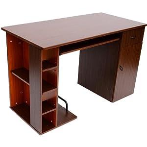 Homcom small home office dorm computer desk dark walnut golden oak - Small oak computer desks for home ...