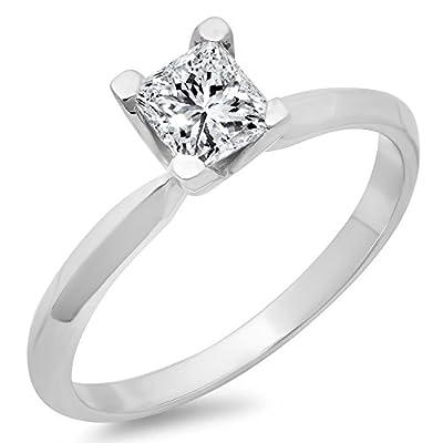 IGI CERTIFIED 0.50 Carat (ctw) 14K White Gold Princess Diamond Bridal Solitaire Engagement Ring 1/2 CT