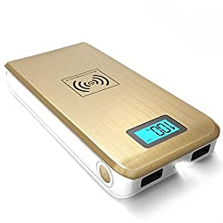 Qi Wireless Power Bank Dual USB Portable ActionPie TM 12000mAH External Battery Charger Smart LCD Display & LED Flashlight Backup Charger 2.1Amp Input Fast Charging (golden)