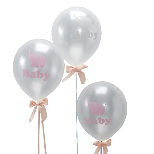 Ginger Ray Little One Baby Elephant Shower Pearlised Balloons, Mixed (Pink Grey Baby Shower compare prices)