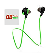 buy Genuine Bluetooth H7 Wireless Headset, Headphone, W/ Mic Lightweight Sweatproof, Sport Handsfree, Gym Running For Blackberry Leap ++ Free Microfiber Sticky Screen Cleaner, Green